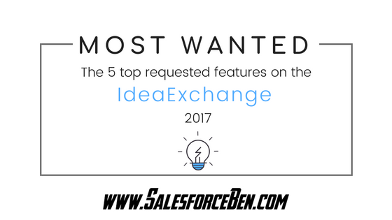 IdeaExchange Most Wanted: top 5 requested Salesforce features 2017