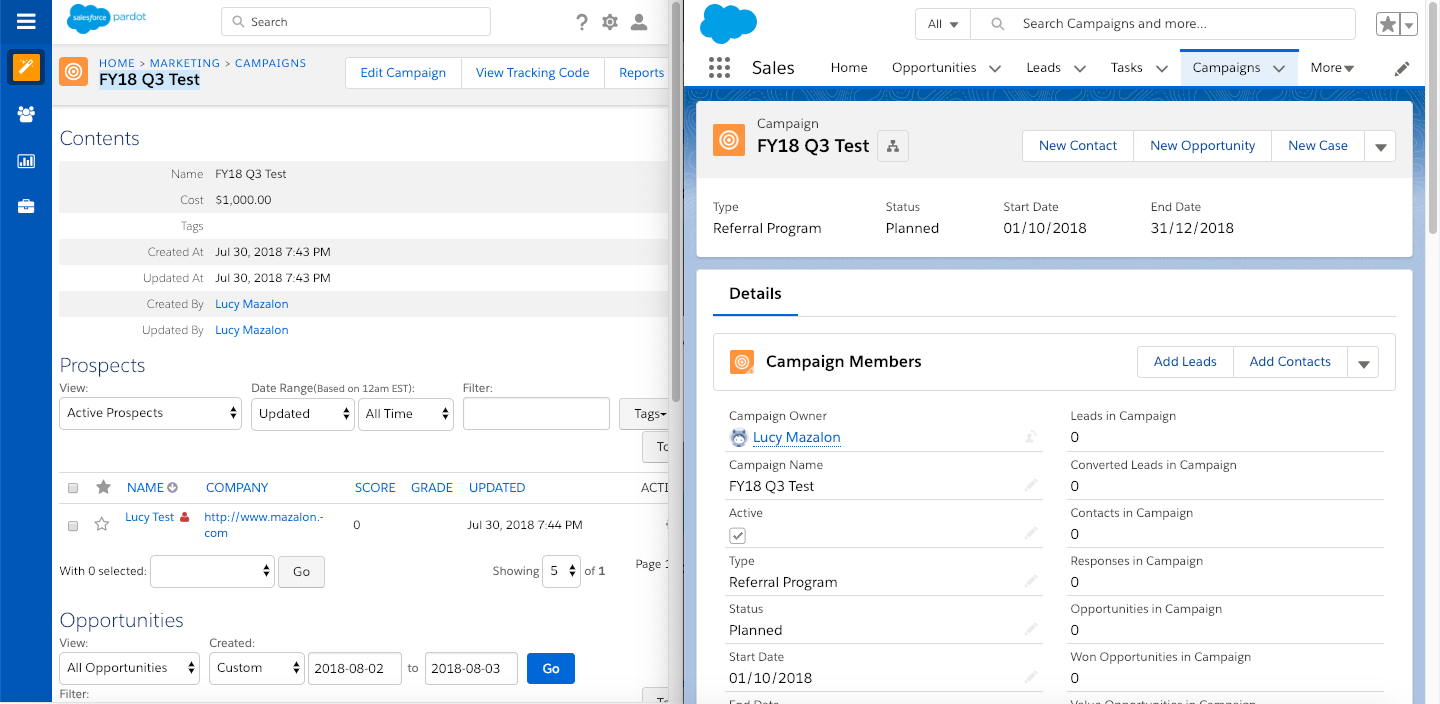 Difference between Pardot Campaigns and Salesforce Campaigns