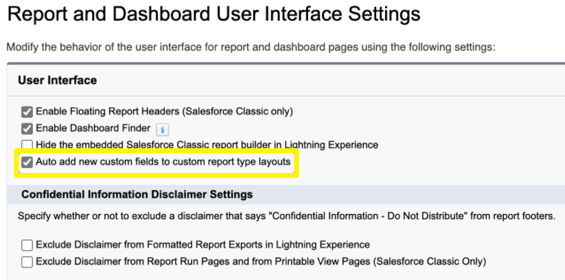 Automatically add New Fields to Custom Report Types in Salesforce Winter '21 Release