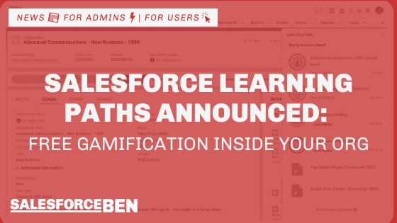 Salesforce Learning Paths Announced: Free In-App Gamification for Salesforce