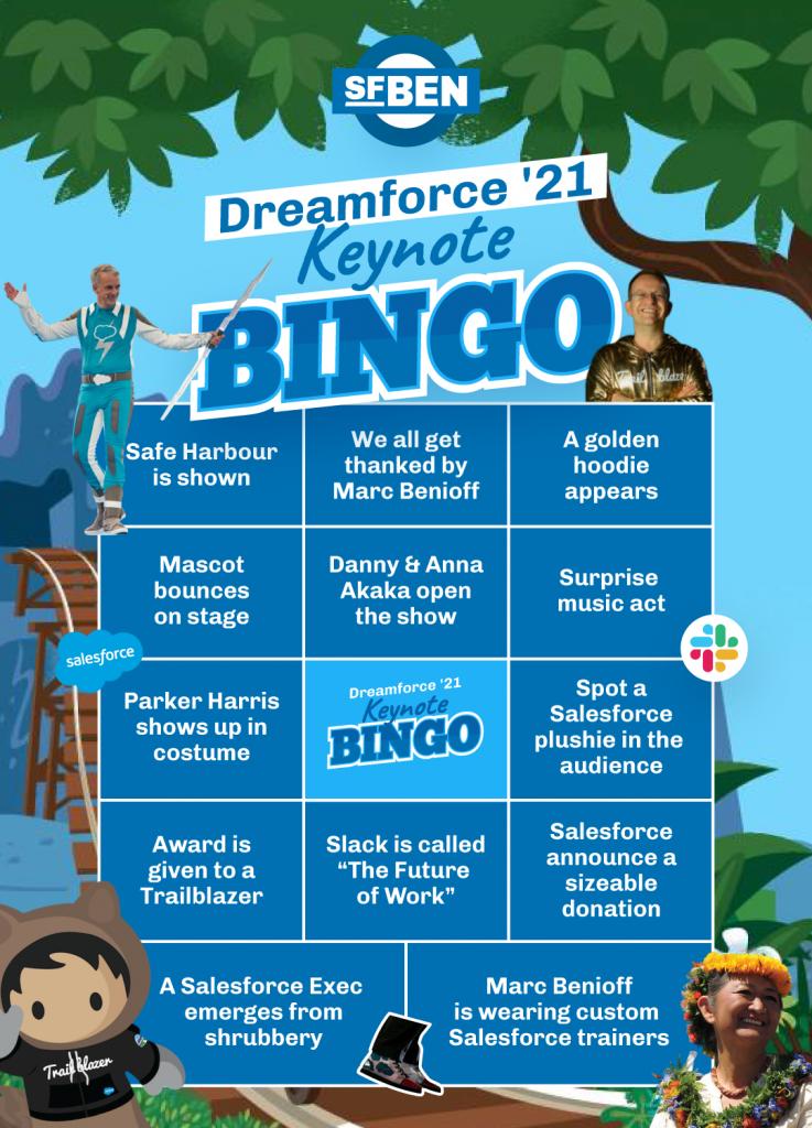 Dreamforce '21 Bingo Board by Salesforce Ben