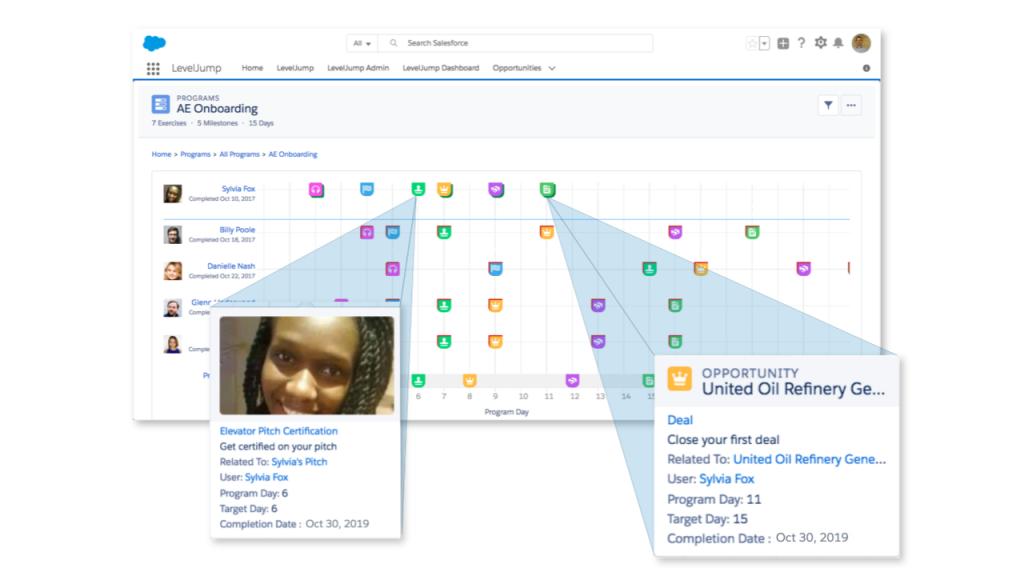LevelJump Sales Enablement - see milestone data in team setting