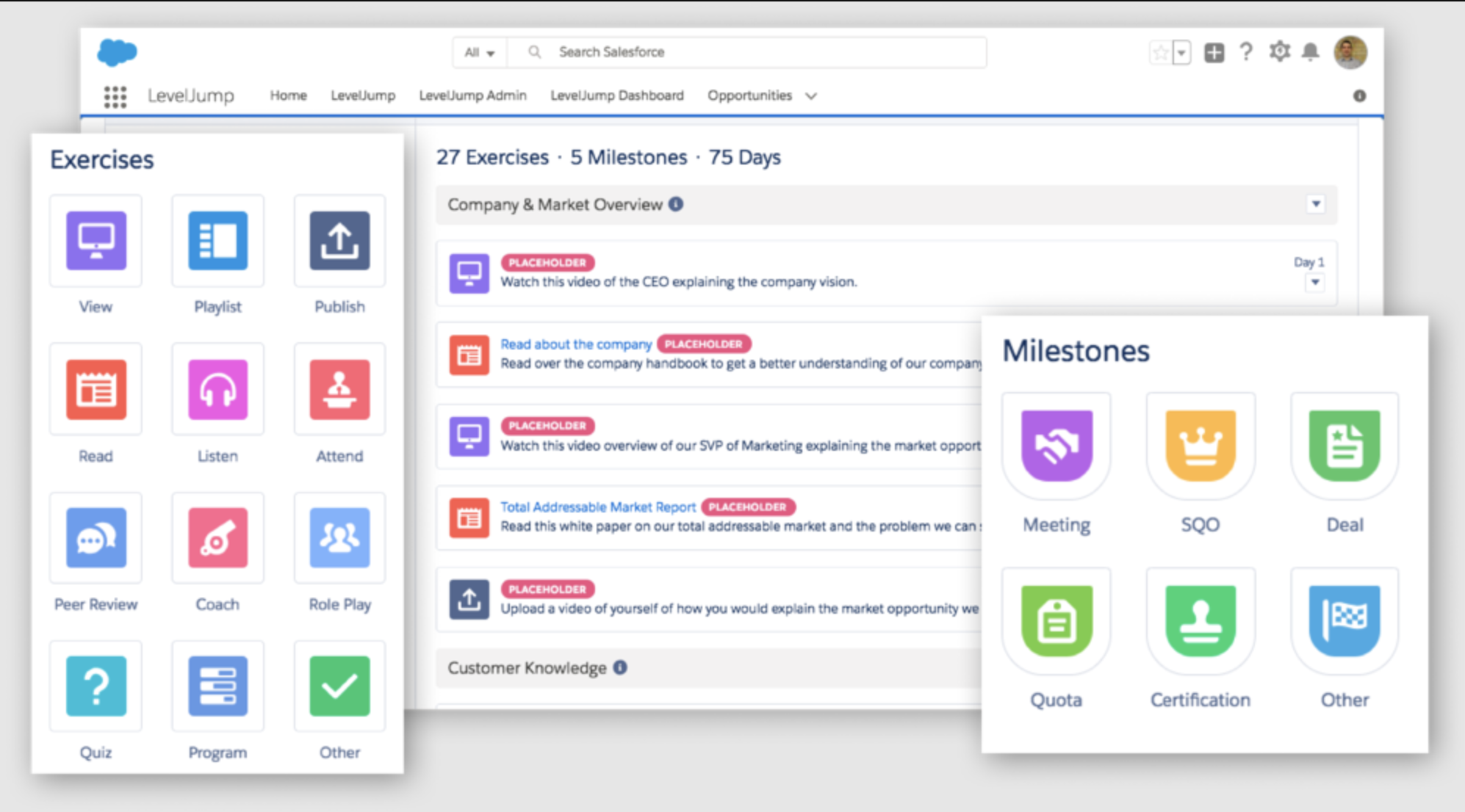 LevelJump Sales Enablement - build programs, exercises and milestones for sales reps to complete